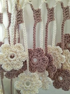 Light Brown  flowery crochet echarpe by GabyCrochetCrafts on Etsy, £62.00
