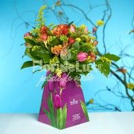 Promo Flowers tulips and freesias Tulips, Glass Vase, Table Decorations, Home Decor, Cots, Decoration Home, Room Decor, Tulip, Dinner Table Decorations