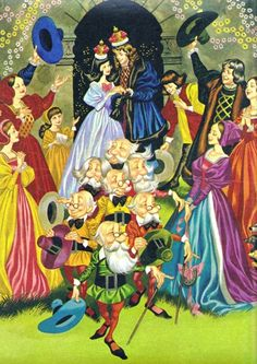 Ron Embleton, Snow White and the Seven Dwarfs Fantasy Illustration, Graphic Illustration, Snow White Wedding, German Fairy Tales, Famous Fairies, Snow White Disney, Fairest Of Them All, Disney Images, Vintage Fairies