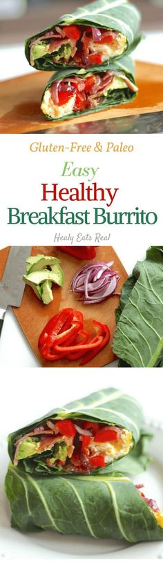 Healthy Breakfast Burrito- Paleo & Gluten Free. Great idea for a quick and easy on-the-go breakfast recipe!
