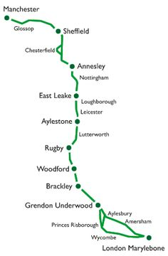 Plan of the entire GCR route Map Of Britain, Train Map, Steam Railway, British Rail, Old Trains, Old Maps, Steam Engine, Steam Locomotive, Train Station