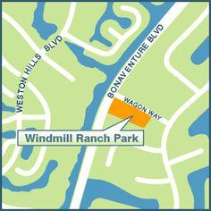 WINDMILL RANCH PARK, 2900 Bonaventure Boulevard  (adjacent to Everglades Elementary School) Hours: 8am – Dusk Amenities: - 5.272 acre neighborhood park - Shaded Playground - Football / Soccer field - Parking - Dog Friendly park - dogs allowed on a max. 6' leash #LoveYourHome #WestonFL