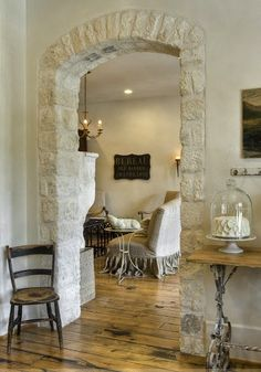 "Really only getting a ""peek"" at that living room, and I love the ""entrance"" to it!      ZsaZsa Bellagio: shabby chic"