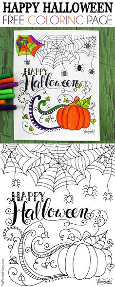 Happy Halloween Coloring Page -  Great for a halloween party for kids or even…