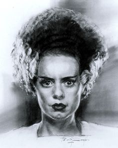Elsa Lanchester as The Bride of Frankenstein. Drawing by legend, Basil Gogos