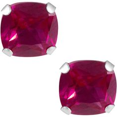 Jewel Exclusive 10K Gold  Cushion Lab Ruby Stud Earrings (2.675 RUB) ❤ liked on Polyvore featuring jewelry, earrings, multi, ruby jewellery, cushion cut earrings, yellow gold jewelry, ruby stud earrings and ruby earrings