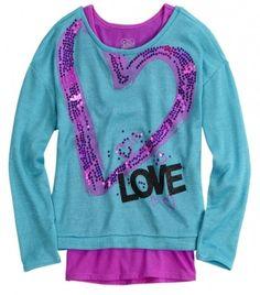 NWT Justice Girls Aqua Lilac Sequin LOVE TooFer Sweater Tee Top U Pick Sz NEW