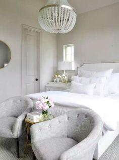 Master bedroom ideas. Light Griegel walls, white linens, neutral bedroom