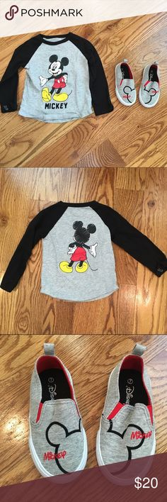 Kids - MM shirt & shoes Kids (BOYS) - long sleeve Mickey Mouse shirt (size 24m/2T) Mickey Mouse slip on shoes. Shoes still smell brand new, bottoms barely walked on (size 7). Everything WORN 1X Disney Shirts & Tops