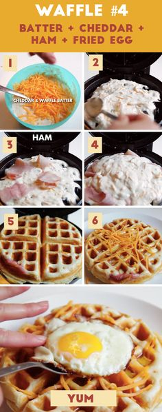 Waffle Batter Cheddar Ham Fried Egg Here Are 4 Borderline Genius Waffles You Need To Try Breakfast Desayunos, Breakfast Dishes, Breakfast Recipes, Breakfast Ideas, Mexican Breakfast, Breakfast Sandwiches, Waffle Maker Recipes, Waffle Batter Recipe, Eggs In Waffle Maker