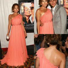 High Neck Ruched Jennifer Lopez One Shoulder Coral Celebrity Dresses Red Carpet Dresses 2015 Floor Length Chiffon Plus Size Gown
