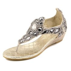 Zicac Womens Wedge Heel Sandals Shiny Diamante Sequined Clip Toe Flip-flops Casual Summer Beach Shoes ** Be sure to check out this awesome product.