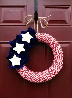 4th of July Chevron Ribbon Wreath