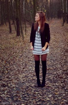 Blazer over Striped Dress with tights and knee socks #favorite_pin