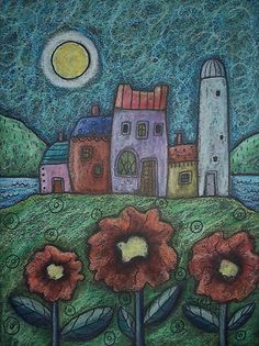 Seaside Silo 9 x 12 OIL PASTEL FOLK ART ABSTRACT PRIM ORIGINAL Karla G