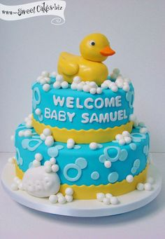 Ducky Baby Showers, Rubber Ducky Baby Shower, Baby Shower Duck, Baby Shower Cakes For Boys, Baby Shower Parties, Rubber Duck Cake, Baby Shower Images, Specialty Cakes, Cute Cakes