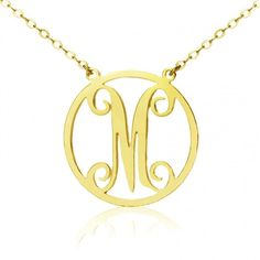 Solid Gold Single Initial Circle Monogram Necklace