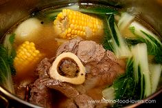 (Filipino food from my childhood) Beef shank nilaga. A soup/stew eaten with rice. Recipes seem to vary from family to family, but the main flavoring in our family recipe is salt, pepper & ginger. Currently I use use chicken wing segments rather than beef, but the vegetables remain the same, green cabbage, green beans, potatoes, & carrots. As indicated by the photo some families put half cobs of corn in their nilaga. I have never done that, but I am not opposed to the idea.