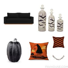 Home Decor Ensemble With Sofa Glass Bottle Improvements Holiday Decoration And Halloween Home Decor From October 2016 #home #decor
