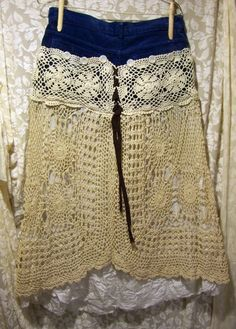 Take those out dated mom jeans, cut them up, add crochet doilies and voila! Not mom jeans anymore!! Gypsy chic!!!