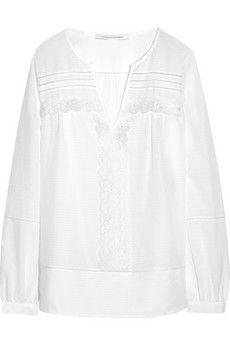 Diane von Furstenberg Andrea embroidered cotton and silk-blend top | NET-A-PORTER