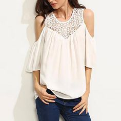 12901cd83ee50 Fashion Quarter Sleeve Cut Out Sleeve Women Tops Crochet Lace