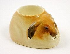 Rare Royal Doulton Bunnykins egg cup, modelled as a crouching hare.