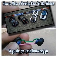 My Custom Hot Wheels How-To Guide showing you how to make a steering rack so that your next scale creation can turn, do donuts or drift like Mad Mike Custom Hot Wheels, Hot Wheels Cars, Custom Cars, Hot Wheel Autos, Ship In Bottle, Miniature Cars, Train Layouts, Miniture Things, Classic Toys