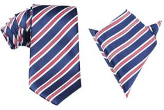 Matching Necktie  Pocket Square Combo Navy Blue with Red by OTAA, $43.95 Groom Attire, Pocket Square, Navy Blue, Trending Outfits, Red, Pocket Squares, Pocket Handkerchief, Groom Outfit