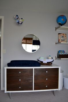 Baby Boy Nursery   Vintage Mid Century Modern Dresser As Changing Table,  Diaper Caddy
