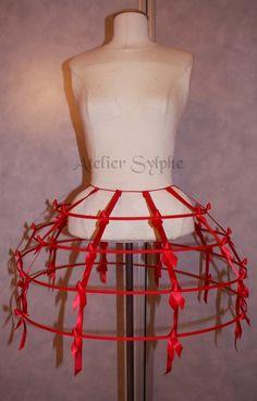 8ac546310bc7f Jupe cerceaux crinoline rouge et ruban de satin taille unique 4 rangs Jupe  À Cerceau,