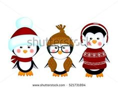 vector illustration of a cute little penguins in clothes kids isolated on white background decorations for children holiday invitations cards christmas xmas