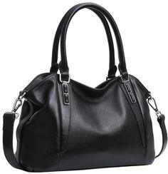 """Iswee Women's Leather Tote Shoulder Bag Satchel Handbags Purse Fashion Design for Ladies (Black). Material-Best top layer cowhide leather. Hardware: Ingot silver hardware. Smooth zipper. Textured silver ring for shoulder strap. Size info:(Length) 12.99 x (Height) 8.66 x (Width) 5.12"""" in,The weight is about 2.13 pounds. Strap: Come with removable and adjustable leather strap for crossing body (39.37~53.15' in). Structure: Smooth and durable polyester lining made the purse more luxury. 2…"""