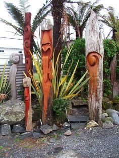 New Zealand native timber chainsaw carved garden art by Michael Walsh, Kakahi New Zealand Abstract Sculpture, Bronze Sculpture, Wood Sculpture, Garden Sculpture, Maori Art, Ice Sculptures, Garden Art, New Zealand, Glass Art