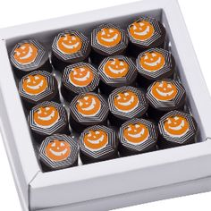 #Halloween chocolates Get enchanted with Michel Richart's latest creations: some dark Venezuela chocolates filled with an orange and cinnamon ganache and cream from Bresse. A surprisingly well-balanced alliance between the best cinnamon, oranges, and dark chocolate, with Halloween-themed hand drawings. $29