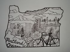 Greetings from oregon state map vintage by for Celtic tattoo artists portland oregon