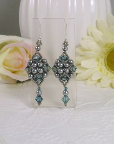 Woven Silver Grey Dangle Earrings with Denim Blue by IndulgedGirl