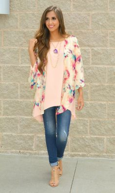 This water color blush kimono is a must-have for every girls wardrobe!