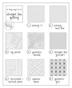 Quilting Straight Line Quilting patterns - Veni Vidi Vicky - Let me start with a confession: I'm afraid of free motion quilting and I feel lost without my walking foot! The sheer thought of having to guide the fabric sandwich all.myself ruins the ex… Machine Quilting Patterns, Quilting Templates, Quilt Patterns, Quilting Ideas, Hand Quilting Designs, Line Patterns, Stitch Patterns, Quilting Rulers, Longarm Quilting