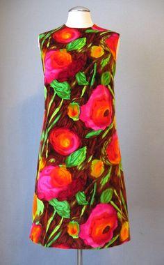 Vintage 60s Velvet Pop Art Mod Dress