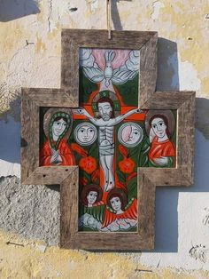 Cross Art, Mother Mary, Christian Art, Catholic, Illustration Art, Ikon, Glass, Artwork, Angels