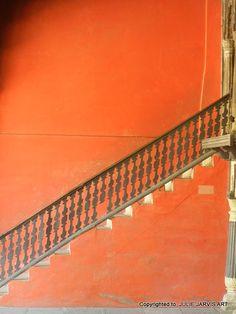 SALE  Orange Stair Case India Pattern  Fine Art by Jarvisart, $18.00