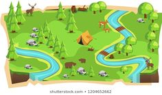 Forest Jungle Game Maps and Soft Green land with Bear, Mouse Deer, Tent, Rivers, stone and Trees for Platform Vector Illustration Mouse Deer, Black Brazilian, Fresh Image, Mobile Game, Local Artists, New Image, Rivers, Royalty Free Images, 2d