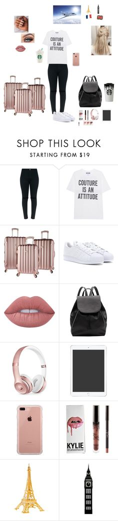 """""""Going to Paris,England and Scotland in the summer!"""" by sabellacunningham ❤ liked on Polyvore featuring Moschino, adidas, Kylie Cosmetics, Lime Crime, Witchery, Beats by Dr. Dre and Belkin"""