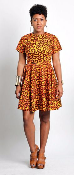 African wax print fit and flare dress with short sleeves ~DKK ~African fashion, Ankara, kitenge, African women dresses, African prints, African men's fashion, Nigerian style, Ghanaian fashion.