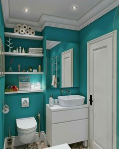 Teal And White Bathroom. Contemporary Teal Bathroom Wall Color Scheme With Wooden Shelves Above Toilet As Well As White Painted Washbasin Under Square Frameless Wall Mirror Of