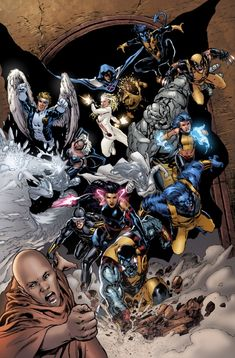 Angel, Cloak, Sunspot, Nightcrawler, Iceman, Storm, Dagger, Rockslide, Wolverine, Surge, Cyclops, Psylocke, Emma Frost, Beast and Colossus