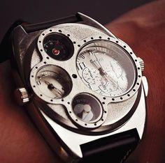 Image of Handmade Retro Leather Wrist Watch / Steampunk Mechanical Man Wrist…
