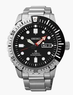 Montre Homme Seiko Propsex SRP587K1, bracelet et boîtier acier, cadran noir et lunette rotative noire.