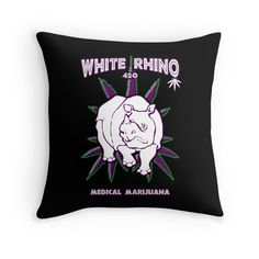 """White Rhino 2"" Throw Pillows by Samuel Sheats 